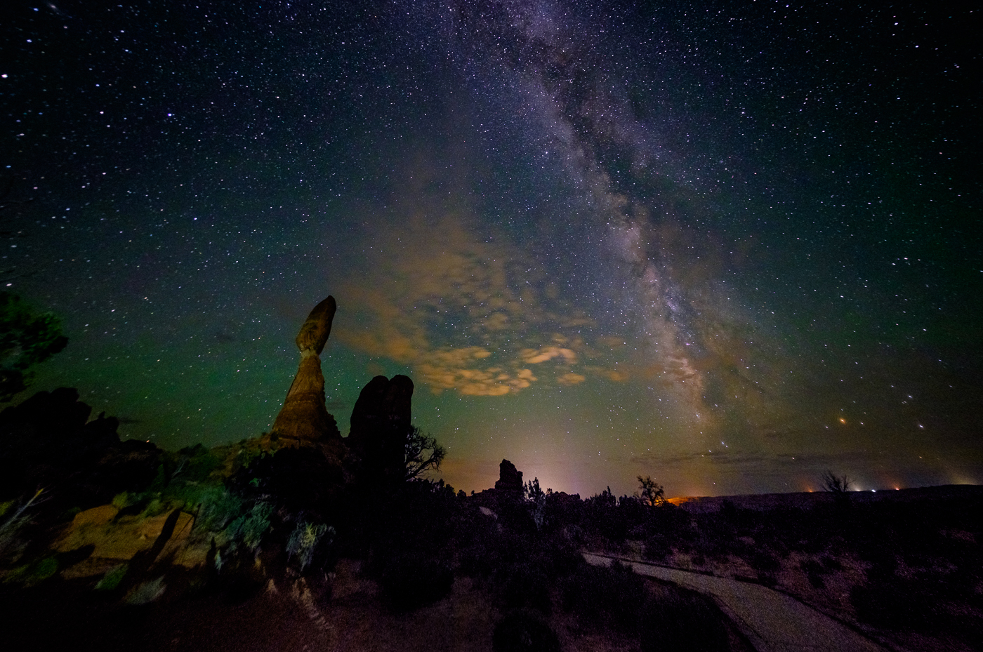 The Milky Way at Balanced Rock, Arches National Park, Utah, USA on northtosouth.us