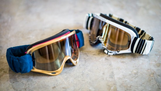 Motocross goggles modified with spray paint and strap covers for Burning Man