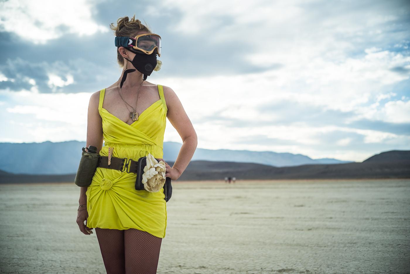 Burning Man 2014 women's costume sunset playa portrait