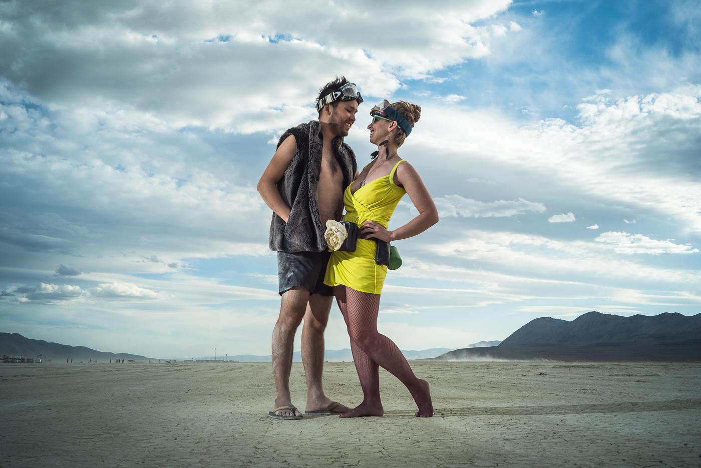 Sunset couples portrait at Burning Man 2014