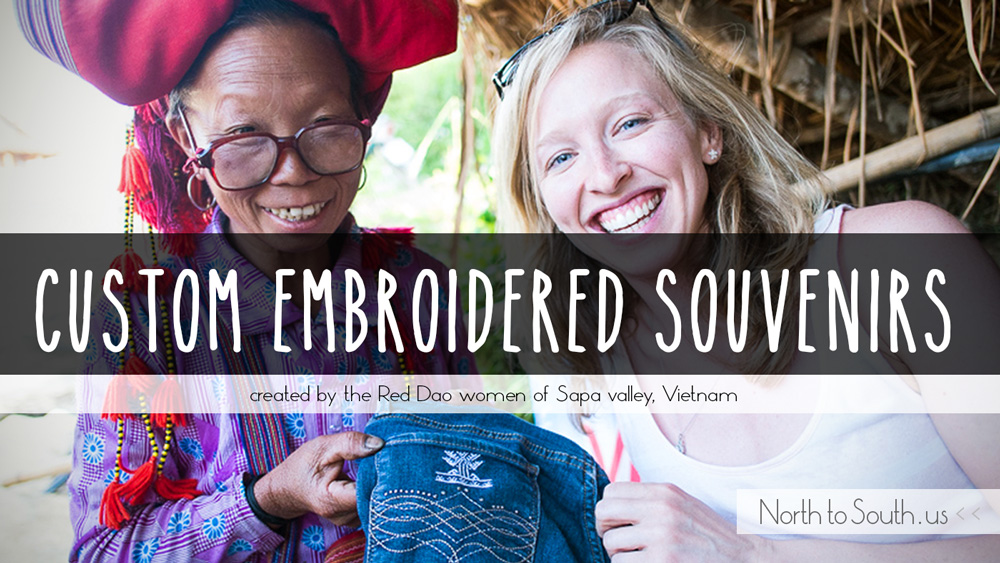 Custom Embroidered Souvenirs Created by the Red Dao Women of Sapa Valley, Vietnam