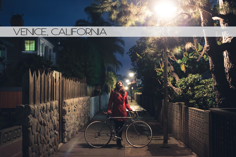 Diana and her bicycle in Venice, California at night