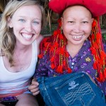 custom embroidered jeans by the Red Dao women minority in Sapa, Vietnam