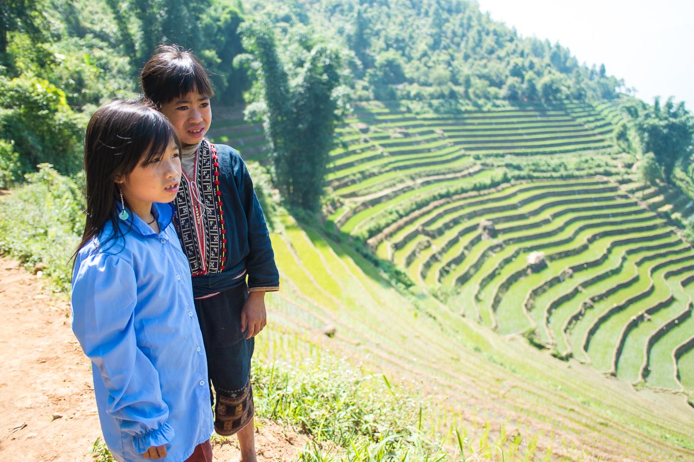 Red Dao girls in Sapa valley, Vietnam