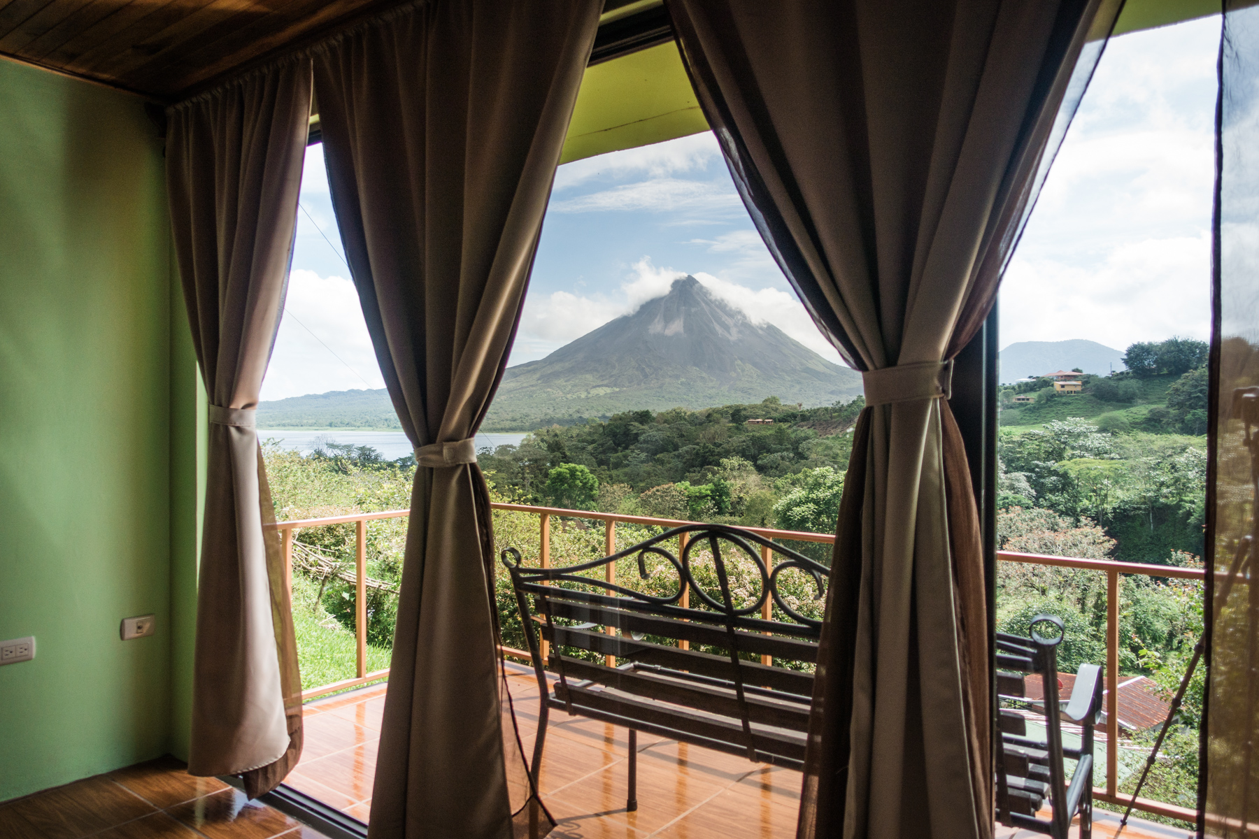 Small local hotels sometimes have listings on Airbnb, too. Here's the view from Castillo Del Arenal in Costa Rica.