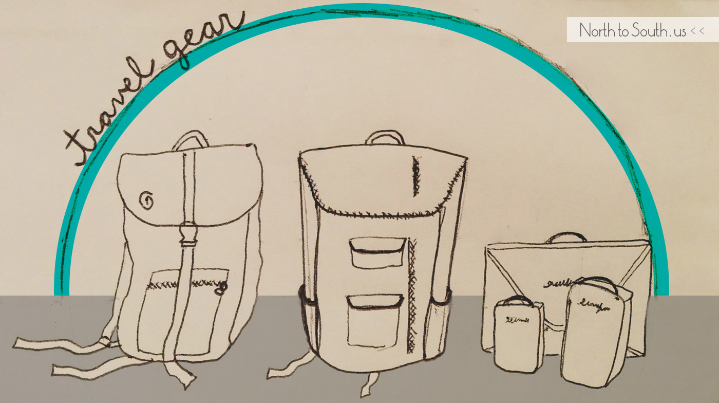 Diana and Ian's essential travel gear doodle