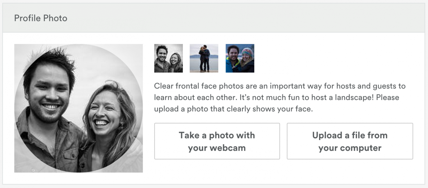 Upload a clear photo of your face on your Airbnb profile.