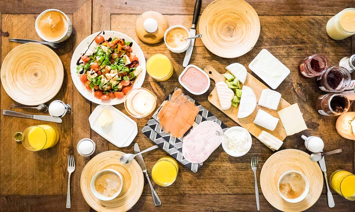 breakfast spread in Berlin, Germany