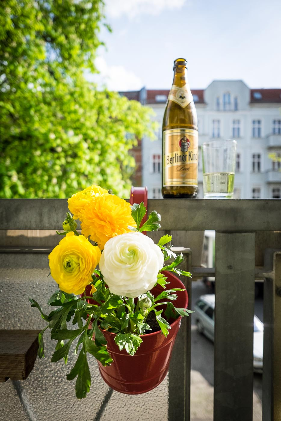 Flowers and beer in Berlin, Germany