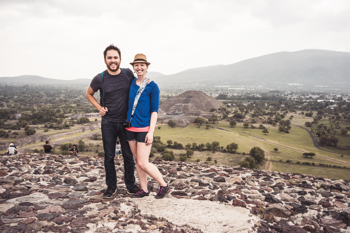 on top of the Pyramid of the Sun, view of Pyramid of the Moon, Teotihuacán, Mexico