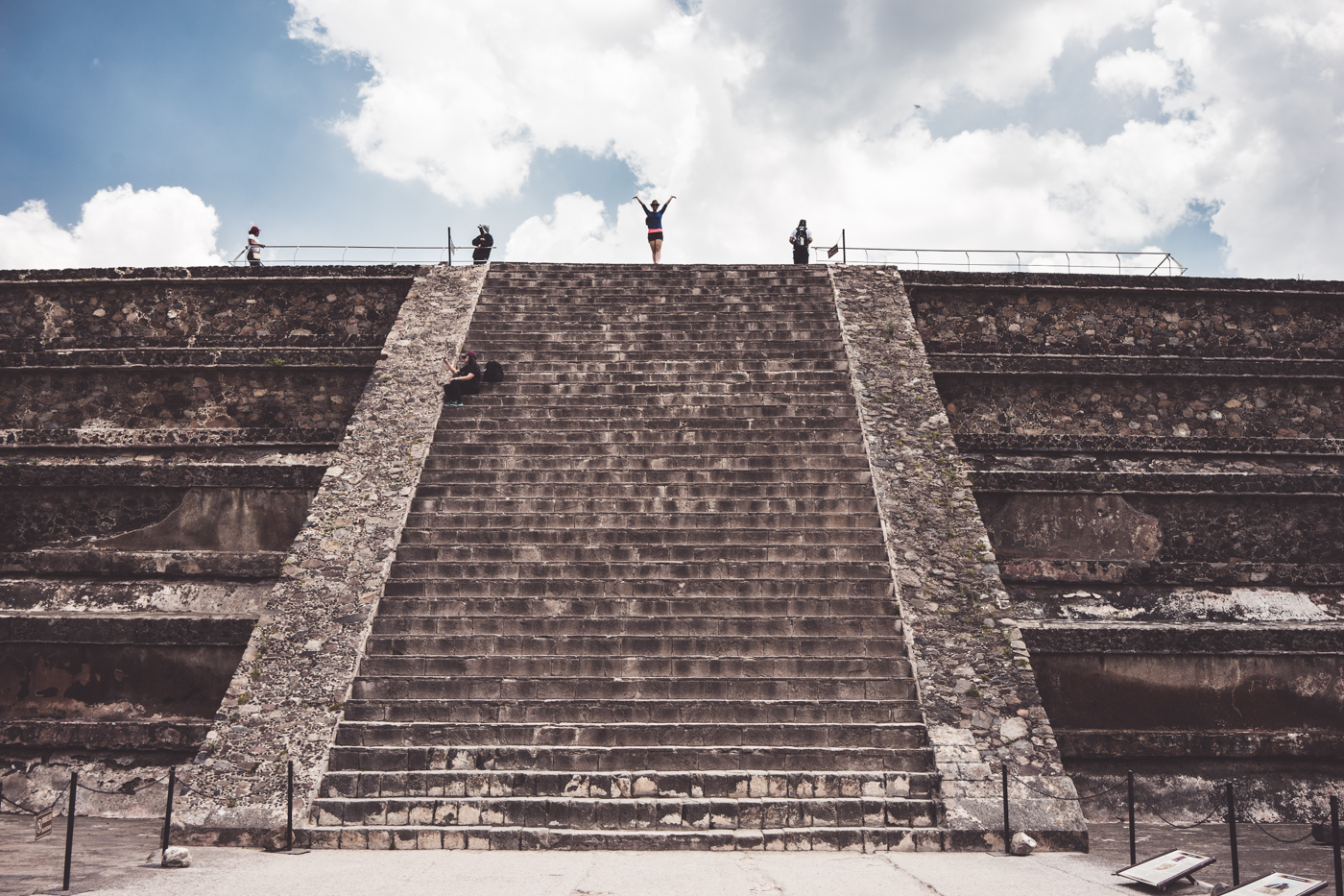 Diana at the top of the platform in La Ciudadela of Teotihuacán