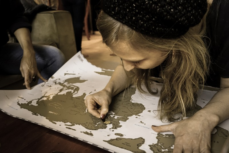 Sony RX-100 III photography sample: marking off the countries we've visited on a scratch-off map