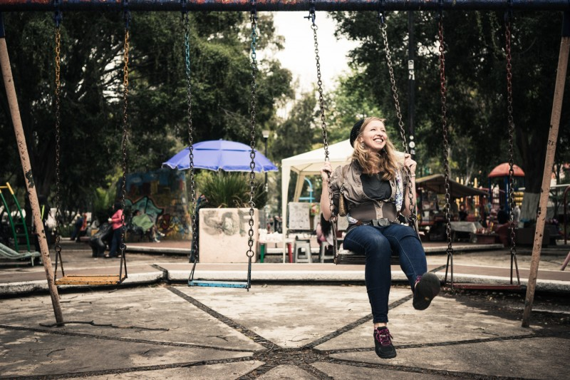 Diana on a swingset in Mexico City