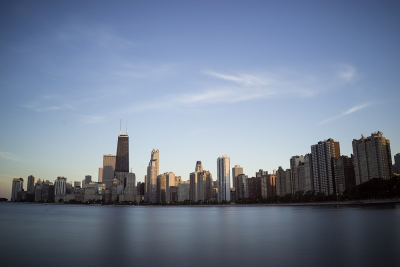 Chicago skyline long exposure photo by Ian Norman