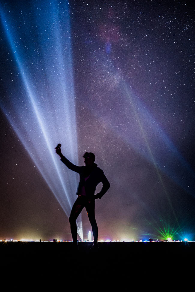 stunning travel portraits: Black Rock City night silhouette