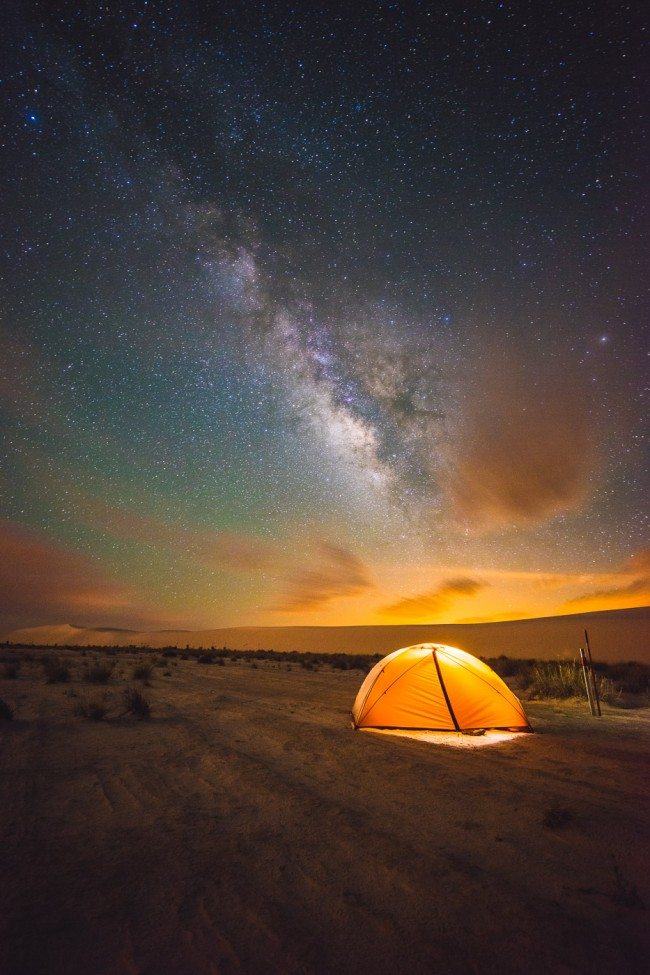 camping under the Milky Way at White Sands National Monument, New Mexico