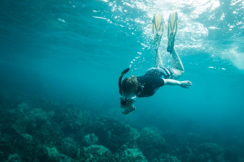 Snorkeling at Two Steps in Honaunau Bay, Big Island Hawaii