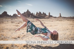 Diana Southern levitating at Trona Pinnacles, California