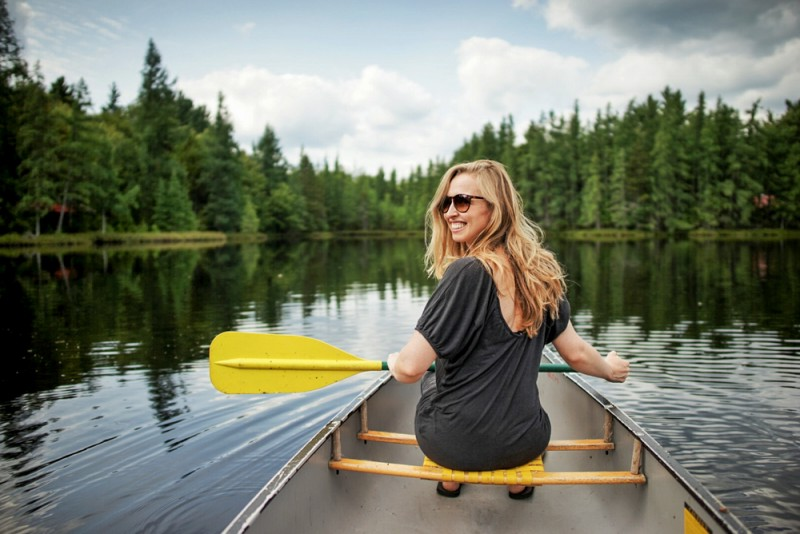 canoeing on a lake in the Adirondacks