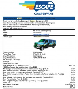 Escape Campervans 3-day booking email confirmation