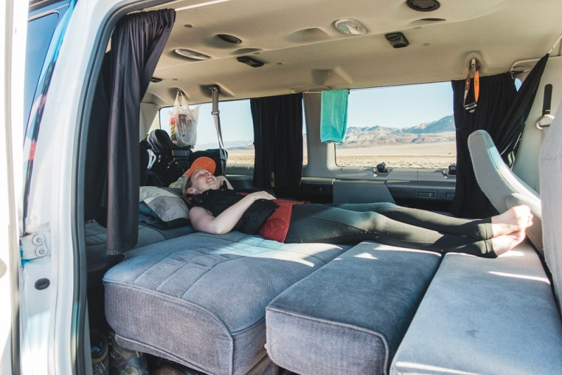 Deploying the bed in the campervan