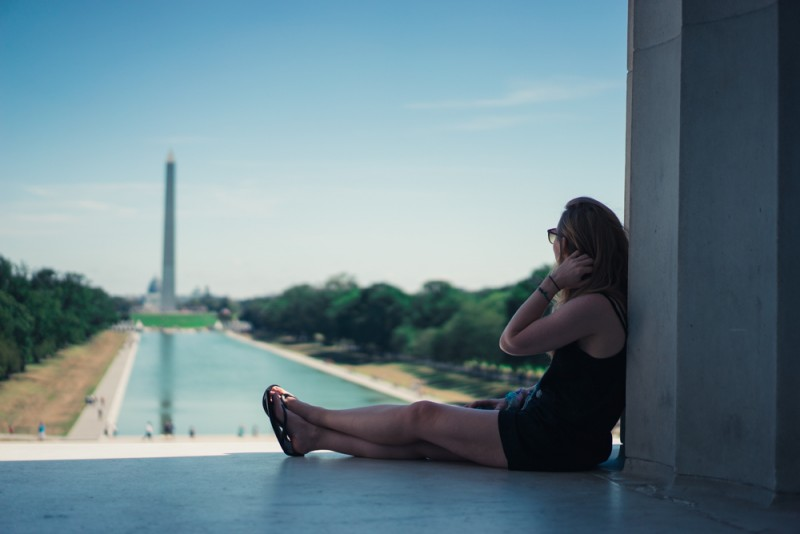 View of Reflecting Pool and Washington Monument from Lincoln Memorial