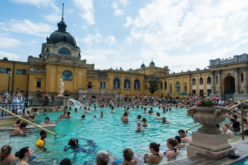 Outdoor pool at Széchenyi thermal bath